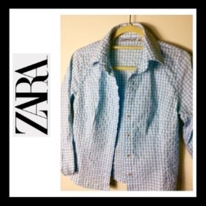 ZARA SKY BLUE WHITE GINGHAM TOP L